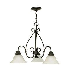 Nuvo Lighting Castillo - 3 Light Chandelier - Textured Finish with Swirl Glass