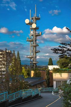 City Center Photograph - Telecommunications tower by Alex Lyubar #AlexLyubar#FineArtPhotography#VancouverCanada#NewWestminster#CityCentr#TelecommunicationsTower#CloudySky#HomeDecor#ArtForSale