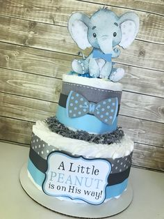 Elephant Diaper Cake for Boys, Little Peanut Baby Shower Centerpiece in Blue and Gray, Elephant Baby Shower Decorations by AllDiaperCakes on Etsy https://www.etsy.com/listing/624578307/elephant-diaper-cake-for-boys-little