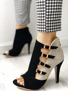 Colorblock Splicing Hollow Out Buckled Thin Heels #Shoeshighheels