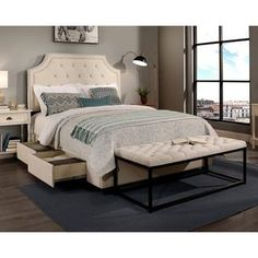 Shop for Republic Design House Audrey King/Cal King-Size Ivory Tufted Platform Bed with Flat Bench Set. Get free shipping at Overstock.com - Your Online Furniture Outlet Store! Get 5% in rewards with Club O!