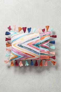 "Tasseled Medina Pillow, pink, 14""x20"", $78"