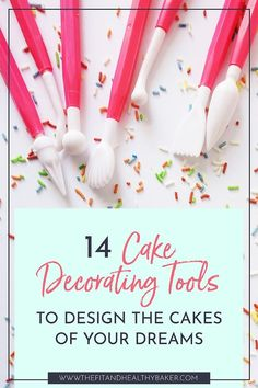 Full of cake decorating ideas? Want to decorate a cake but wonder what tools you need? Click through for 14 Cake Decorating Tools to Design the Cakes of Your Dreams. Cake Decorating Books, Cupcake Decorating Tips, Cake Decorating For Beginners, Cake Decorating Designs, Cake Decorating Supplies, Cake Decorating Techniques, Decorating Tools, Cookie Decorating, Cupcake Cake Designs