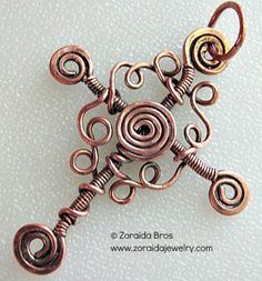 Copper Cross with Wire Swirls
