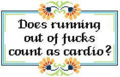 Running Out of Fucks Cross Stitch Pattern Subversive Swear