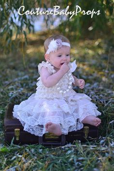 Vintage Beige Ruffle Lace Girls DRESS Ruffle by CoutureBabyProps