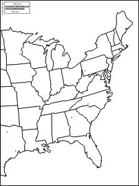 East coast of the United States : free map, free blank map
