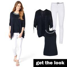 Top mit Stickerei, leichter Cardigan und weiße Denim von zero  #zerofashion #getthelook #outfit #ootd