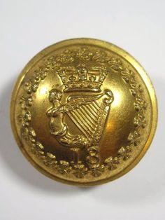 18th (Royal Irish) Regiment of Foot Large Victorian Officers Button.