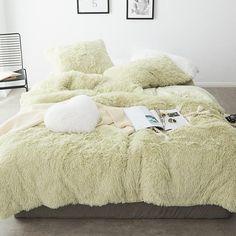Fluffy Velvet Fleece Quilt Cover Bed Set (4/6/7 pcs) - Soft Green