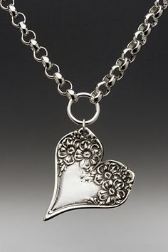 Florentine Silver Spoon Jewelry Heart Pendant Necklace