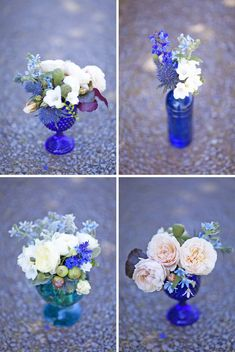 Blue glass vases with the baby's breath? Cobalt Blue | Wedding Inspiration & Colour Ideas