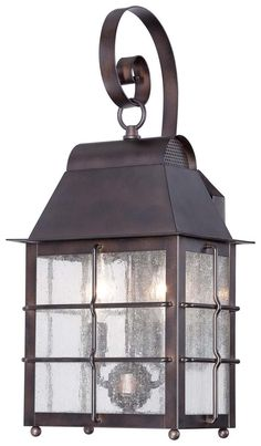 Minka Lavery Great Outdoors Willow Pointe Two Light Wall Mount Lantern in Chelsea Bronze