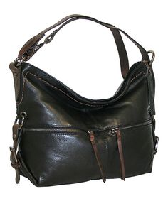 Loving this Black Hollywood Leather Hobo on #zulily! #zulilyfinds