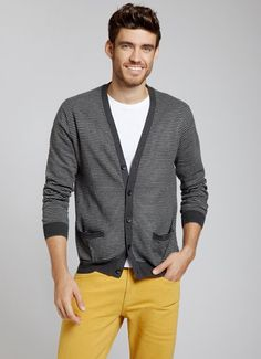 Calling Card - Grey Stripe Cardigan Bonobos