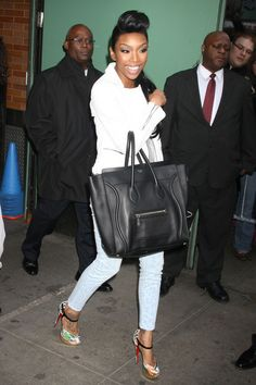 7554d46d353 All Glammed-Up  Brandy Wearing Christian Louboutin Sandals   Carrying A  Céline Luggage Bag