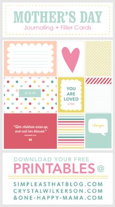 Free Mother's Day themed Journaling and Filler cards available at www.simpleasthatblog.com. Great for use with Project Life® or as simple gift tags!