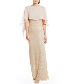 Jessica Howard Lace Capelet Column Gown