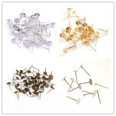 Wholesale Flat Pad Silver Earring Posts Studs Findings for Jewelry Making  Earrings a49eb6a9dad5