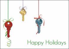 christmas keys glossy white 735 - Realtor Christmas Cards
