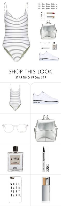 """""""""""The worst enemy to creativity is self-doubt."""" -Slyvia Plath"""" by are-you-with-me ❤ liked on Polyvore featuring NIKE, Yves Saint Laurent, Kin by John Lewis, Steidl, Bare Escentuals, Casetify, Clinique and Ilia"""