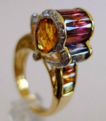 NEW ITEM - Bellarri Ultimate Color Collection 18K Yellow Gold Fleur-de-Lis shaped Diamond Madeira Citrine and Multi-Gemstone Ring
