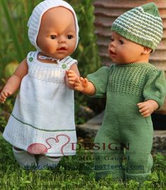 knitting patterns for baby born dolls Knitted Doll Patterns, Doll Dress Patterns, Knitted Dolls, Baby Knitting Patterns, Crochet Doll Dress, Crochet Barbie Clothes, Boy Doll, Girl Dolls, Baby Born Clothes