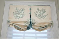 Modified balloon valance with contrasting pleat and buttons. Custom means fabric and design come together, this is perfect. Bathroom Window Treatments, Valance Window Treatments, Bathroom Windows, Custom Window Treatments, Window Coverings, Window Valences, Country Window Treatments, Window Seats, Rideaux Shabby Chic