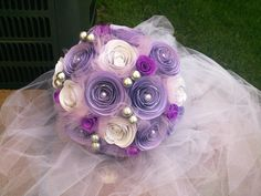 Paper flower bridal bouquet Lavender and White by SpringDews, $45.00