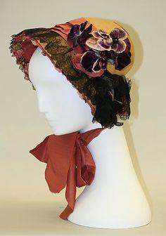 Bonnet, 1839, American  Medium:  straw, silk  Dimensions: Width: 11 1/2 in. (29.2 cm) Other: 9 in. (22.9 cm)