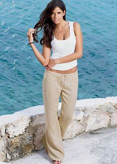 """Just bought these pants in """"Sand"""".  Love the way they fit and look - now I just need to find a cute pair of wedges to pair with them :)"""