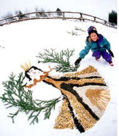 This is a mosaic project where kids fill their snow angels with birdseed, much to the delight of their feathered friends. Simply gather various types of birdseed seed (suggest thistle, corn, sunflower and safflower), cups, pine boughs.
