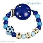 Schnullerkette mit Namen Blau mit Fussball