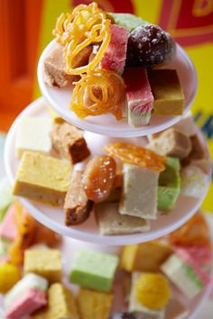 Mithais indian sweet table / tower idea!  http://www.modernrani.com