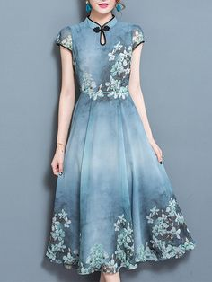 Chinese Style Printed Mandarin Collar Short Sleeve Dresses. # Affiliate.