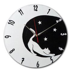sur commande horloge chat dans la lune version 2 - Boutique www.magicreation.fr Clock, Boutique, Wall, Decor, Cat Clock, Wall Clocks, Moon, Watch, Decoration