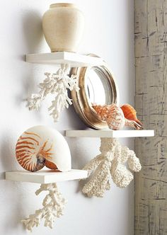 Floating Coral Shelves made from Plaster: http://beachblissliving.com/memorial-sale-beach-decor/