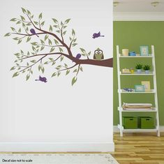 Owl and Four Birds on a Branch Wall Decal - by: Wallums Wall Decor