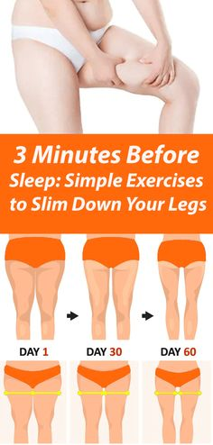 3 Minutes Before Sleep: Simple Exercises to Slim Down Your Legs A few people only are motivated to exercise on a daily basis. Women, in turn, are often hindered from paying attention to themselves because of their engagement in family, home, and work. Toning Workouts, Easy Workouts, At Home Workouts, Workout Abs, Fitness Exercises, Weight Loss Motivation, Fitness Motivation, Thinner Thighs, Lower Ldl Cholesterol