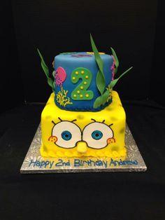 Sponge Bob Birthday! 8in Square Chocolate, 6in Round Strawberry  #spongebobcake #birthdaycake http://www.joscakesandcatering.com/birthday-cake-gallery/