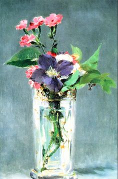 Edouard Manet, Pinks and Clematis in a Crystal Vase