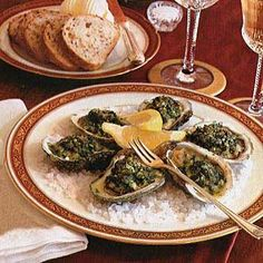 The original recipe for oysters Rockefeller, created at the New Orleans restaurant Antoine's in 1899, remains a secret to this day. The appetizer, oysters topped with a mixture of finely chopped greens and copious amounts of butter and then baked in their shells, was considered so rich that it had to be named after the richest man of the day, John D. Rockefeller.