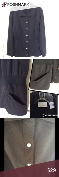 🍂Chico 🍂WW Host Pick🍂 Cute Chico's black blouse with silver buttons and elastic waist band on each side. 2 front pockets. NWOT Weekend Warrior Host Pick! Chico's Tops Blouses