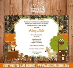 Printable Woodland Camo Baby Shower Invitation | Forest Animals | Camouflage | Baby Boy | FREE thank you card included | Party Package Decorations Available | www.dazzleexpressions.com