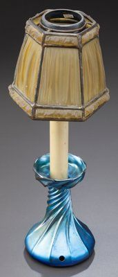 Art Glass:Tiffany , TIFFANY STUDIOS CANDLESTICK LAMP WITH BLUE FAVRILE BASE AND LINENFOLD SHADE. Circa 1910, Base Engraved: L.C.T. Favrile...