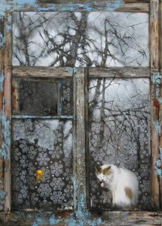 Paintings with cats sitting in a window. Cats by window in fine art. Cat Window, Window View, Window Ledge, Photo Trop Belle, Fall Inspiration, Through The Window, Russian Art, I Love Cats, Cat Art