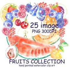 Watercolor Summer clipart,FRUITS CLIP ART,Hand painted clipart ,Clipart Food,Exotic, Citrus ,Summer fruits Invitation clipart by MilaWorldDesign on Etsy