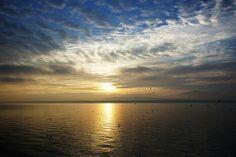 Sunrise on Lake Geneva, Nyon, Switzerland.