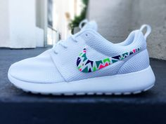 Custom Nike Roshe Run sneakers for women, Lime, purple, green, pink, tribal, triangle design, fashionable design Anyone wanna give me a follow || laurenperry76 ;)