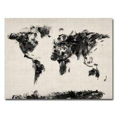 Trademark Fine Art Michael Tompsett 'Abstract Map of the World' Canvas Art